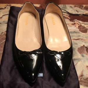 Prada Patent Leather Pointed Toe Ballet Flats